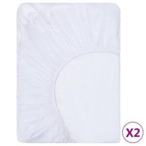 2 Lençóis ajustáveis 160x200 cm algodão branco - PORTES GRÁTIS