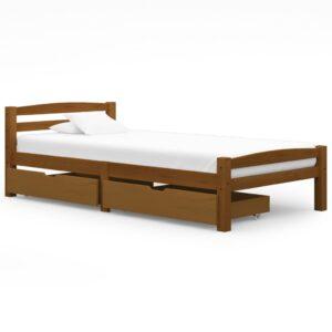 Estrutura cama c/ 2 gavetas 90x200 cm pinho maciço castanho mel - PORTES GRÁTIS