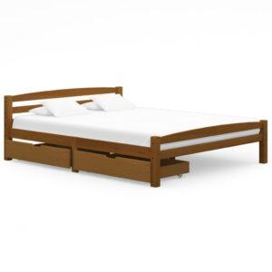 Estrutura cama c/ 2 gavetas 160x200cm pinho maciço castanho mel - PORTES GRÁTIS