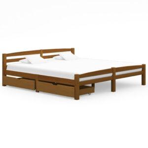 Estrutura cama c/ 2 gavetas 200x200cm pinho maciço castanho mel  - PORTES GRÁTIS