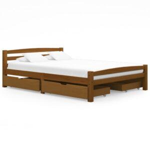 Estrutura cama c/ 4 gavetas 140x200cm pinho maciço castanho mel - PORTES GRÁTIS