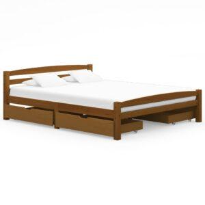 Estrutura cama c/ 4 gavetas 160x200cm pinho maciço castanho mel - PORTES GRÁTIS
