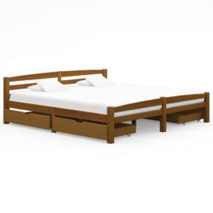 Estrutura cama c/ 4 gavetas 180x200cm pinho maciço castanho mel - PORTES GRÁTIS