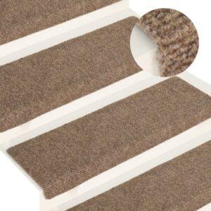 Tapetes de escada 15 pcs 65x25 cm tecido agulhado cor creme - PORTES GRÁTIS