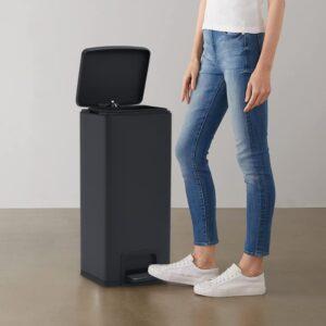 Caixote lixo pedal anti-impressão digital 30 L aço inox. preto - PORTES GRÁTIS