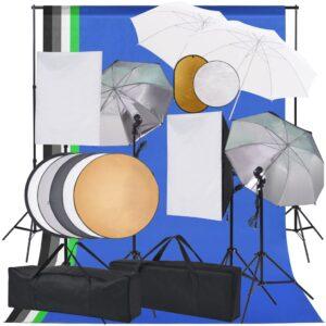 Kit estúdio fotográfico softbox luzes/sombrinhas/fundo/refletor - PORTES GRÁTIS