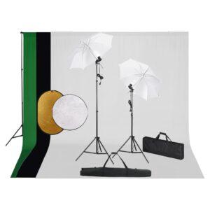 Kit estúdio fotográfico com lâmpadas/sombrinhas/fundo/refletor - PORTES GRÁTIS