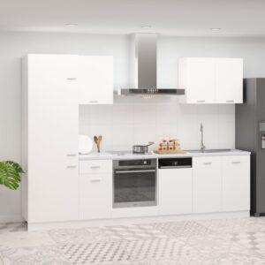 7 pcs conjunto armários de cozinha contraplacado branco - PORTES GRÁTIS