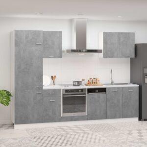 7 pcs conj. armários de cozinha contraplacado cinzento cimento - PORTES GRÁTIS