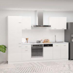 7 pcs conj. armários de cozinha contraplacado branco brilhante - PORTES GRÁTIS