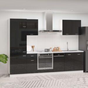 7 pcs conj. armários de cozinha contraplacado preto brilhante - PORTES GRÁTIS