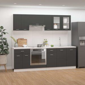 8 pcs conjunto armários de cozinha contraplacado cinzento - PORTES GRÁTIS