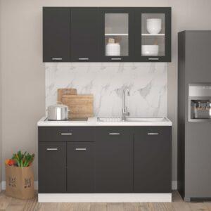 4 pcs conjunto armários de cozinha contraplacado cinzento - PORTES GRÁTIS