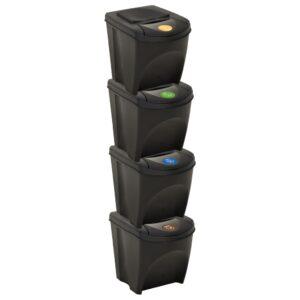 4 Caixotes do lixo empilháveis 100 L antracite  - PORTES GRÁTIS