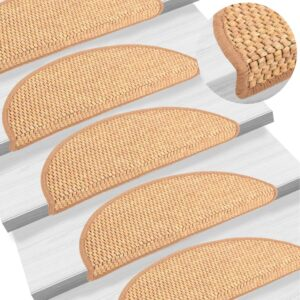 Tapetes escada adesivos aspeto sisal 15 pcs 56x20 cm laranja - PORTES GRÁTIS