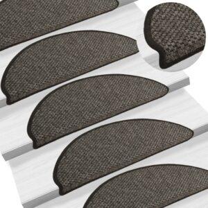 Tapetes escada adesivos aspeto sisal 15pcs 65x25 cm antracite - PORTES GRÁTIS