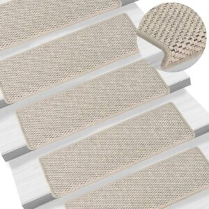 Tapetes escada adesivos aspeto sisal 15pcs 65x25 cm prateado - PORTES GRÁTIS