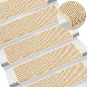 Tapetes escada adesivos aspeto sisal 15 pcs 65x25 cm bege-claro - PORTES GRÁTIS