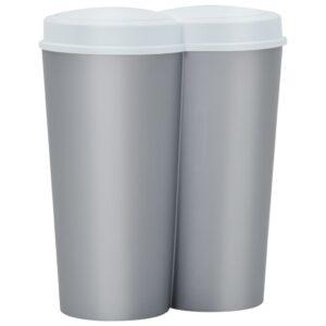 Caixote de lixo duplo 50 L prateado e branco - PORTES GRÁTIS