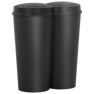 Caixote de lixo duplo 50 L preto - PORTES GRÁTIS