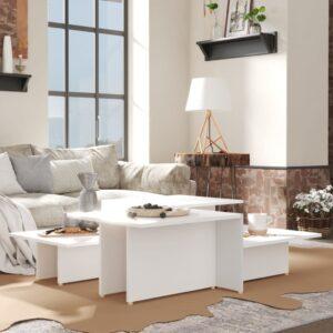 Mesas de centro 2 pcs 111,5x50x33 cm contraplacado branco - PORTES GRÁTIS