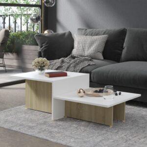 Mesa de centro 111,5x50x33 cm contrapl. branco/carvalho sonoma - PORTES GRÁTIS
