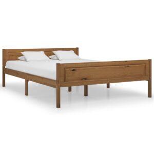 Estrutura de cama 120x200 cm pinho maciço castanho mel - PORTES GRÁTIS
