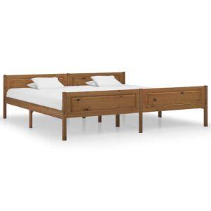 Estrutura de cama 200x200 cm pinho maciço castanho mel - PORTES GRÁTIS