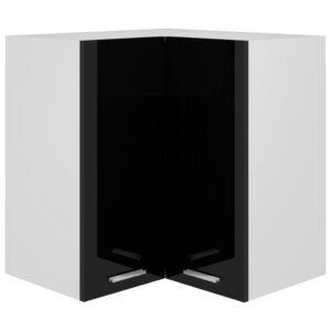 Armário de canto parede 57x57x60 contraplacado preto brilhante - PORTES GRÁTIS