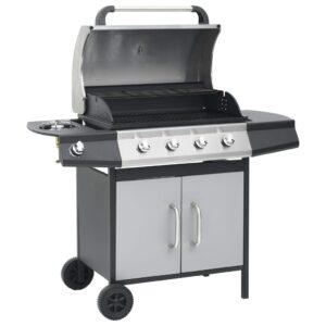 Grelhador/barbecue a gás 4+1 zonas de cozinhar preto e prateado - PORTES GRÁTIS