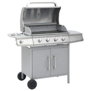 Grelhador/barbecue a gás 4+1 zonas de cozinhar prateado - PORTES GRÁTIS