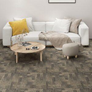 Ladrilhos de carpete para pisos 20 pcs 5 m² cinzento e bege - PORTES GRÁTIS
