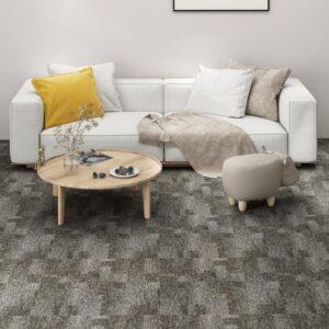 Ladrilhos de carpete para pisos 20 pcs 5 m² cinzento - PORTES GRÁTIS