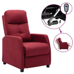 Poltrona elétrica reclinável tecido vermelho tinto - PORTES GRÁTIS