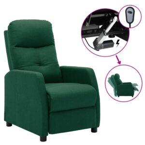 Poltrona elétrica reclinável tecido verde-escuro - PORTES GRÁTIS