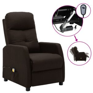Poltrona massagens elétrica reclinável tecido castanho-escuro - PORTES GRÁTIS