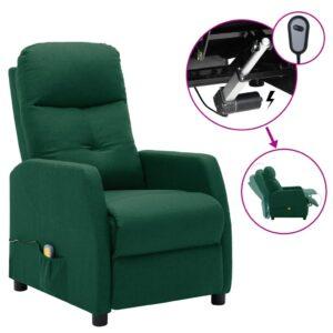 Poltrona de massagens elétrica reclinável tecido verde-escuro - PORTES GRÁTIS