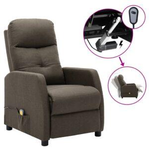 Poltrona de massagens elétrica reclinável tecido cinza-acast. - PORTES GRÁTIS