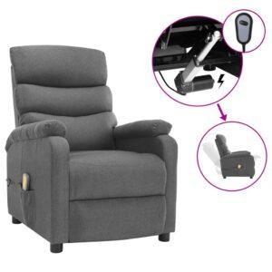 Poltrona de massagens elétrica reclinável tecido cinzento-claro - PORTES GRÁTIS