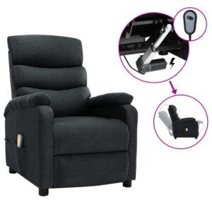 Poltrona de massagens elétrica reclinável tecido cinza-escuro - PORTES GRÁTIS