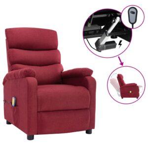 Poltrona de massagens elétrica reclinável tecido vermelho tinto - PORTES GRÁTIS