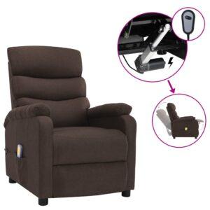 Poltrona de massagens elétrica reclinável tecido castanho - PORTES GRÁTIS