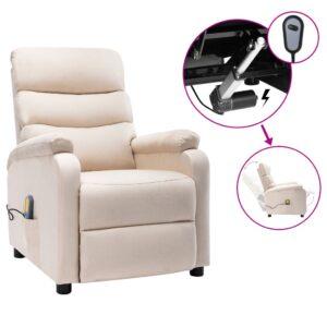 Poltrona de massagens elétrica reclinável tecido cor creme - PORTES GRÁTIS
