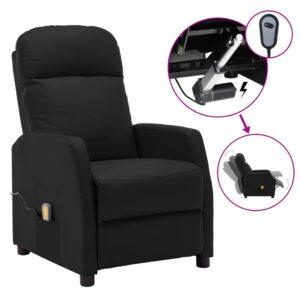Poltrona massagens reclinável elétrica couro artificial preto - PORTES GRÁTIS