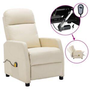 Poltrona de massagens reclinável elétr. couro art. branco nata - PORTES GRÁTIS