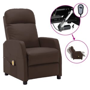 Poltrona massagens reclinável elétrica couro artif. castanho - PORTES GRÁTIS