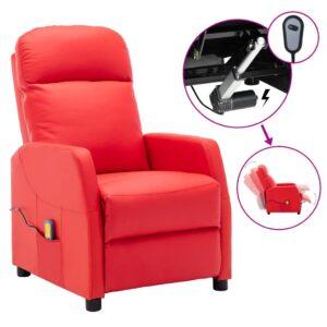Poltrona massagens reclinável elétrica couro art. vermelho - PORTES GRÁTIS