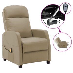 Poltrona massagens reclinável elétrica couro art. cappuccino - PORTES GRÁTIS