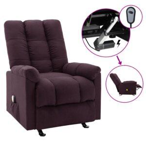 Poltrona de massagens elétrica reclinável tecido roxo - PORTES GRÁTIS