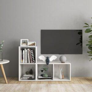 Móveis de TV 2 pcs 72x35x36,5 cm contraplacado branco brilhante - PORTES GRÁTIS